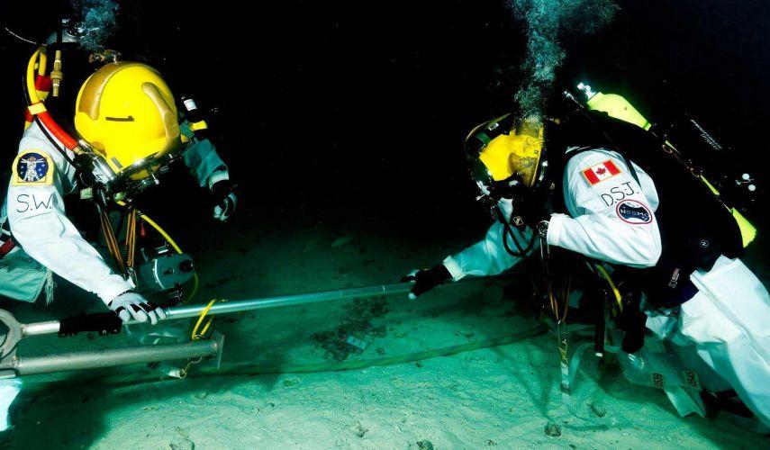 Astronautas no fundo do mar