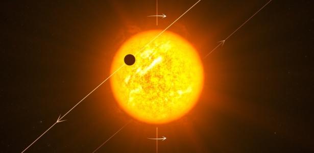 Concepção artística mostra o planeta Wasp 8b, que orbita em sentido oposto ao de sua estrela