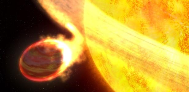 Imagem do Wasp-12 baseada em análises das  informações coletadas pelo Hubble