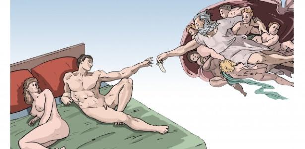Trabalho do cartunista brasileiro Rucke, no Festival Internacional de Humor em DST e Aids