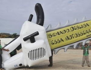 Greenpeace faz manifestação em Brasília contra o novo Código Florestal nesta terça-feira (6)