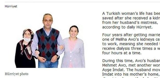 Reprodução da notícia em site turco mostra o marido, a mulher (à esquerda) e a amante