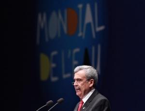O presidente do comitê do Fórum Mundial da Água, o brasileiro Benedito Braga, no discurso de abertura do evento em Marselha, nesta segunda-feira (12)