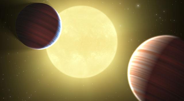 Dois planetas diante da mesma estrela