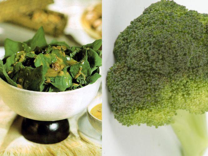 Espinafe e brócolis