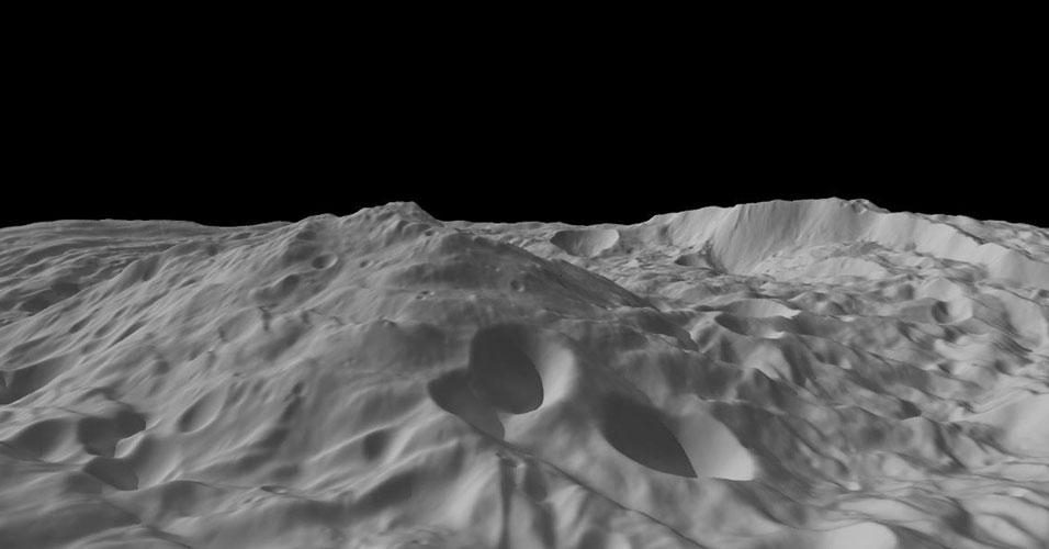 Topografia no asteroide Vesta