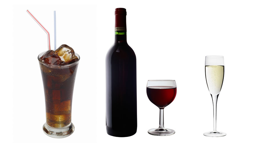 Refrigerante e vinho