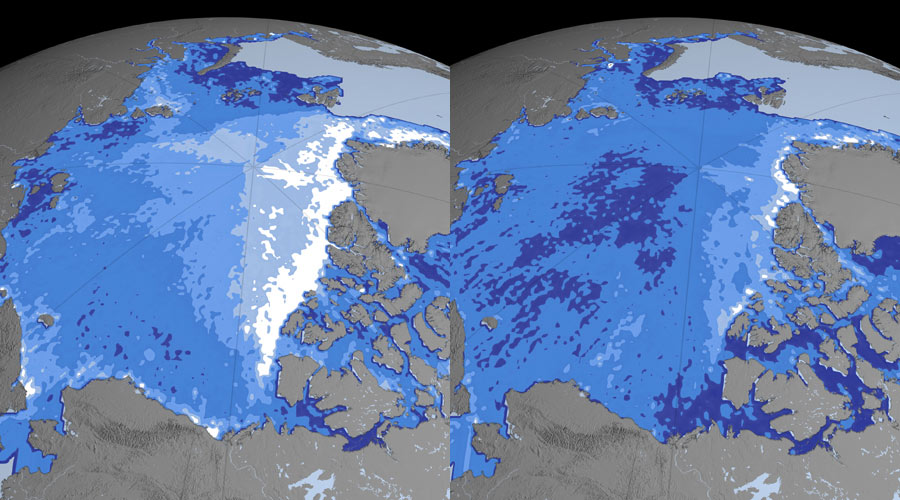 Gelo do Ártico diminuiu