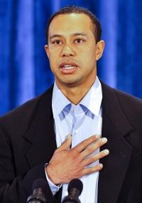 O jogador de golfe norte-americano Tiger Woods em seu primeiro pronunciamento depois do escândalo que escancarou seus casos extraconjugais