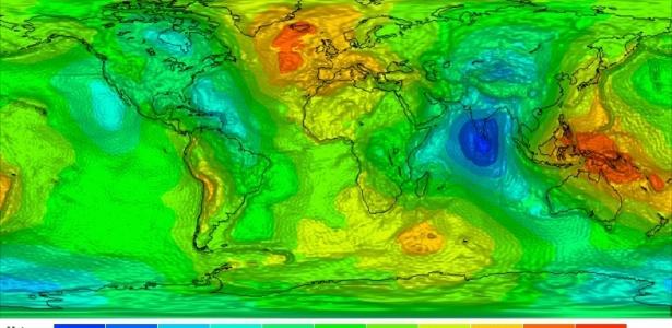 O mapa mostra as diferentes influências da gravidade no planeta