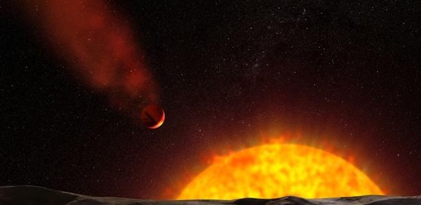 Concepção artística do planeta cometa HD 209458b; clique aqui para ver o álbum do mês