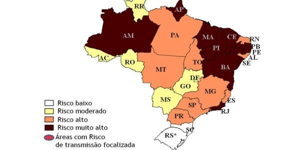 Mapa mostra risco de epidemia de dengue para o verão de 2010/2011, sem dispersão do sorotipo 4