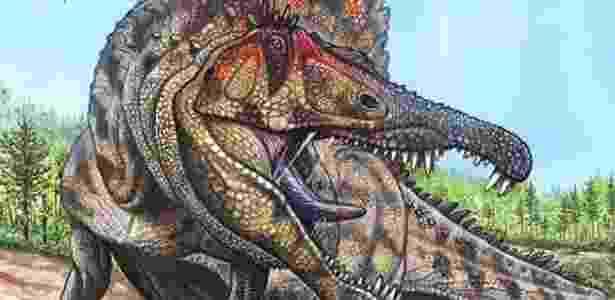 """Ilustração mostra como deveria ser o dinossauro """"Oxalaia quilombensis""""; veja outras fotos - Divulgação"""