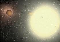 Simulação feita em computador mostra o planeta TrES-4, à esquerda da estrela GSC02620-00648